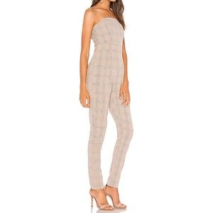 Gray Clueless Plaid Strapless Jumpsuit, XS (NWOT)